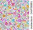 Stars and Swirls Seamless Pattern- Groovy Notebook Doodles Hand-Drawn Vector Illustration Background - stock vector