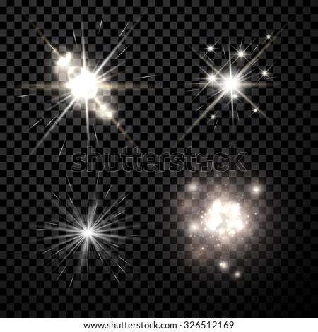 Stars black-white set isolated on black background. Vector Illustration. - stock vector