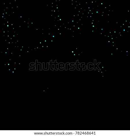Stars, circles, shiny confetti. Scattered little, sparkling, flashing blue, glitter elements. Random tiny stellar falling on black background. New Year and Christmas background. Vector illustration.