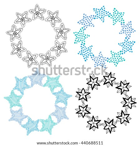 Stars frame isolated decoration set. Sketchy hand drawn vector illustration - stock vector