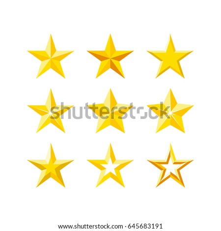 Stars icon set. Modern flat five-pointed stars illustration.