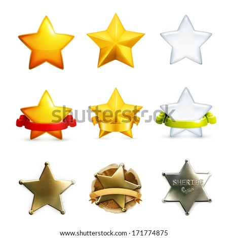 Stars icon set, vector - stock vector
