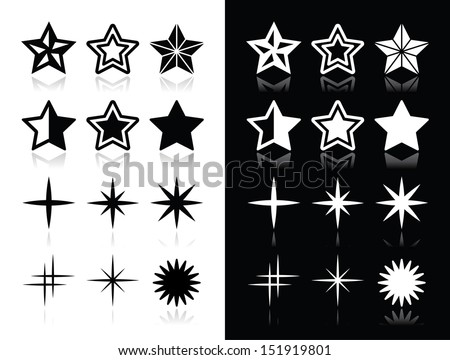Stars icons with shadow on black and white background - stock vector