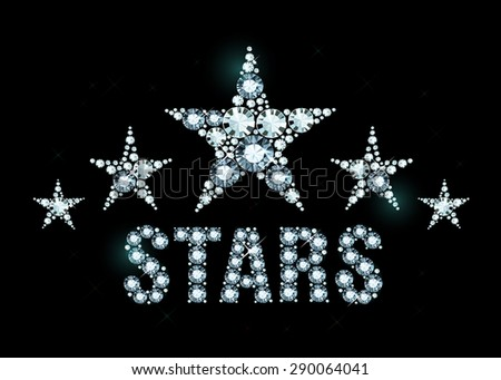 Stars made of shiny diamonds - stock vector