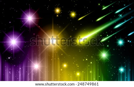 Stars of a planet and galaxy in a free space. meteor, meteorite,  - stock vector