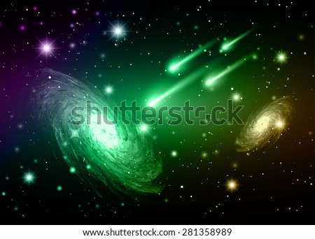 Stars of a planet and galaxy in a free space. meteor, meteorite. dark purple green brown background. - stock vector