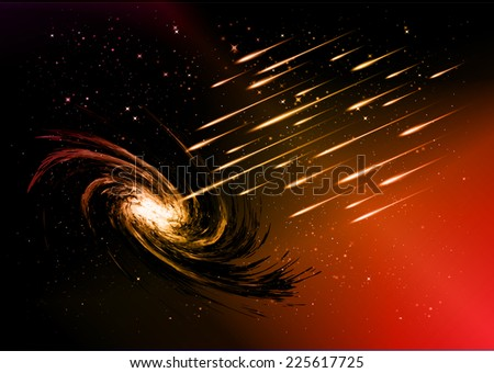 Stars of a planet and galaxy in a free space. meteor, meteorite, dark red background.  - stock vector