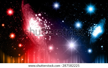 Stars of a planet and galaxy in a free space. meteor, meteorite.dark red blue orange background. Milky Way. Spark - stock vector