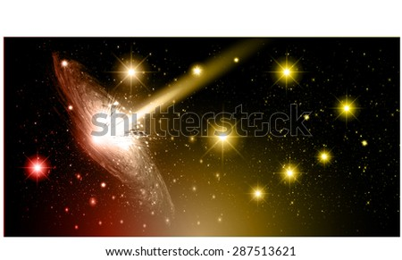Stars of a planet and galaxy in a free space. meteor, meteorite.dark red yellow background. Milky Way. Spark - stock vector