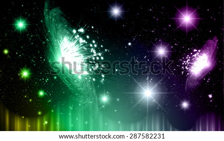 Stars of a planet and galaxy in a free space. meteor, meteorite.dark yellow green purple background. Milky Way. Spark - stock vector