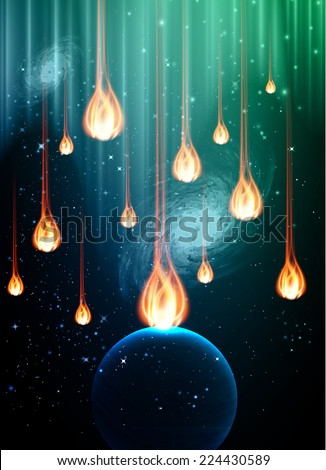 Stars of a planet and galaxy in a free space. meteor, meteorite, fire on dark blue green background.  - stock vector