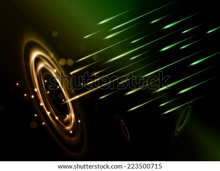 Stars of a planet and galaxy in a free space. meteor, meteorite, fire on dark color  background.  - stock vector