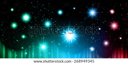 Stars of a planet and galaxy in a free space. meteor, meteorite, fire on dark green blue red background. Universe.