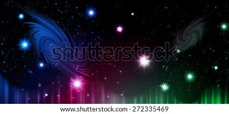 Stars of a planet and galaxy in a free space. meteor, meteorite, fire on dark orange green blue purple green background. Universe. - stock vector