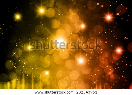 Stars of a planet and galaxy in a free space. meteor, meteorite, fire on dark orange red background. Universe. - stock vector