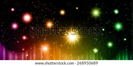 Stars of a planet and galaxy in a free space. meteor, meteorite, fire on dark purple orange green background. Universe. - stock vector