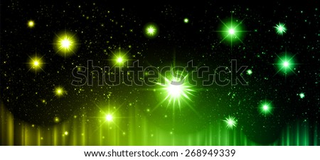 Stars of a planet and galaxy in a free space. meteor, meteorite, fire on dark yellow green background. Universe. - stock vector
