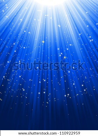 Stars on blue striped background. Festive pattern great for winter or christmas themes. EPS 8 vector file included - stock vector