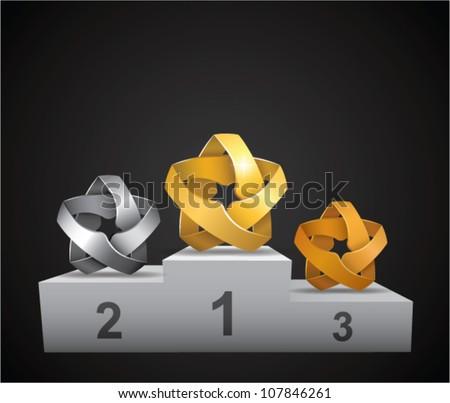 stars prize podium (gold, silver & bronze) - stock vector