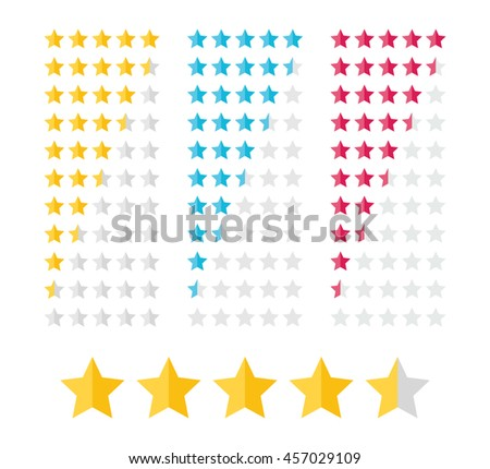 Stars rating design elements. Vector illustration in flat style. - stock vector