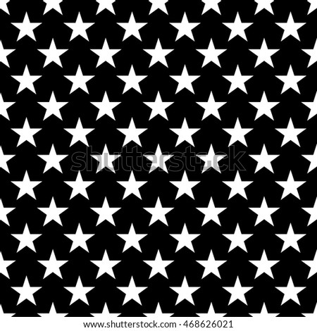 Stars seamless pattern. Black and white retro background elements. Geometric shape texture. Fashion graphic style. Design template for wallpaper, wrapping, fabric, textile Vector Illustration