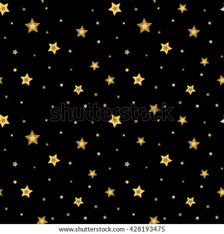 Stars seamless pattern gold and black retro background. Chaotic elements. Abstract geometric shape texture. 3d effect sky. Design template for wallpaper, wrapping, fabric, textile. Vector Illustration - stock vector
