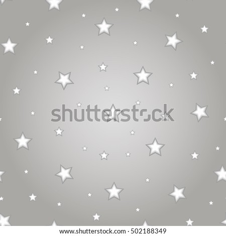 Stars Seamless Pattern. The vector image. Starry night sky. Stars art. Black and white background. Seamless monochrome pattern. Vector illustration.