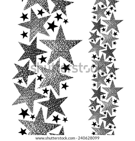 Stars seamless pattern, vertical composition, vector repeating background with hand drawn lines textures. - stock vector