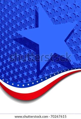 Stars & Stripes with Single star - There are more stars outside the mask, for you to mask as you like. All elements are grouped and on individual layers in the vector file for easy use. - stock vector