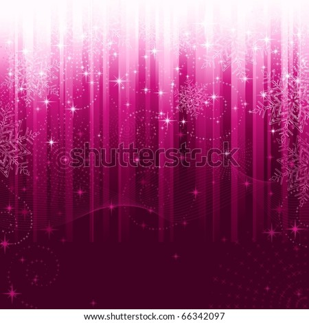 Stars, swirls, snowflakes and wavy lines on purple striped background. A pattern great for festive occasions or christmas themes. - stock vector