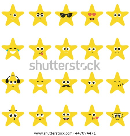 stars with smiley faces - stock vector