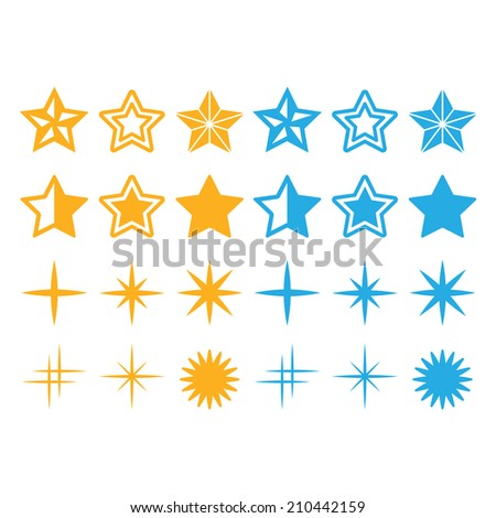 Stars yellow and blue stars icons set  - stock vector