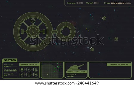 Starship base in the space - computer game screen, game interface and concept, 2d retro style sci-fi interlaced graphic illustration - stock vector