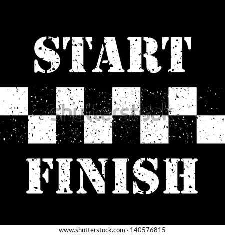 Start and Finish Line on Grunge - stock vector
