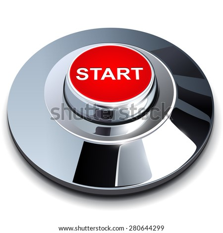 Start button, 3d red chrome metallic  - stock vector