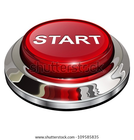 Start button, 3d red glossy metallic icon, vector. - stock vector