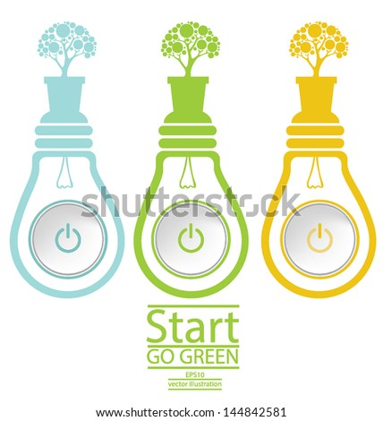 Start button. Green concepts. Lamp vector illustration. - stock vector