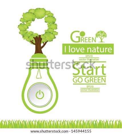 Start button. Green concepts. Lamp vector illustration. - stock vector