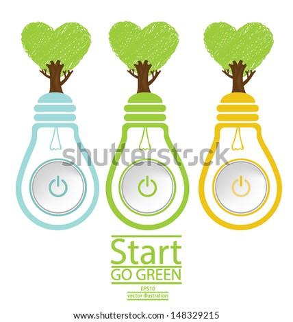 Start button. Tree design. Heart. Green concepts. Lamp vector illustration. - stock vector