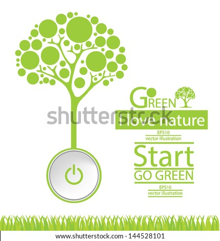 Start button. Tree vector illustration - stock vector
