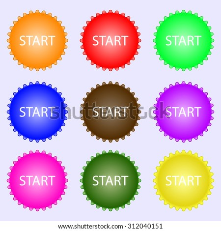Start engine sign icon. A set of nine different colored labels. Vector illustration
