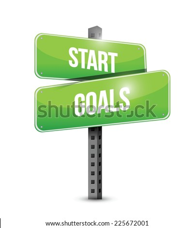 start goals sign illustration design over a white background