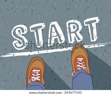 Start line young man begin way. Man standing  on the road. Color vector illustration. EPS8