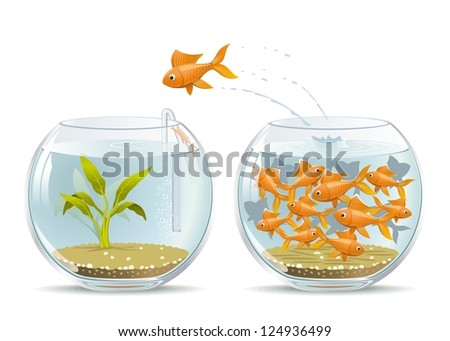 Start of a New Life. Illustration of fish jumping out of the crowded aquarium into a new life. - stock vector