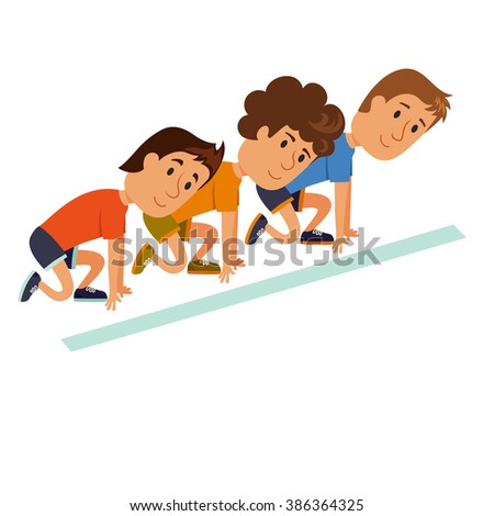 Start run. Group of runners ready to start. The characters at the start of the marathon.  Progress, leadership and beginning concept. Athletes at the starting position. Healthy lifestyle. - stock vector