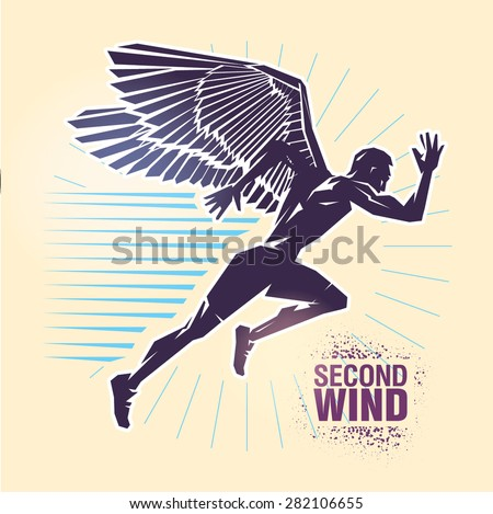 "Start running. Vector illustration created in topic ""Second wind "" - stock vector"