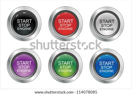 Start Stop Engine button set - stock vector