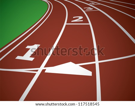 Start Track. Lines On a Red Running Track. Vector - stock vector