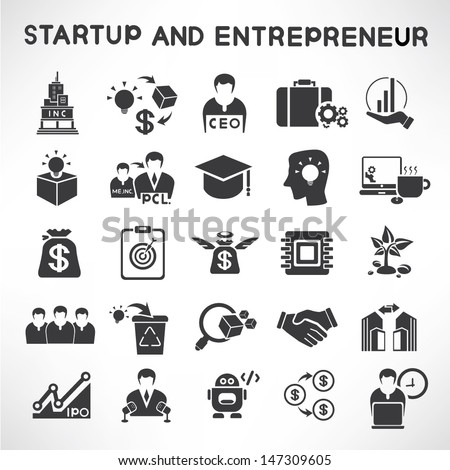 start up business and entrepreneur icons set - stock vector