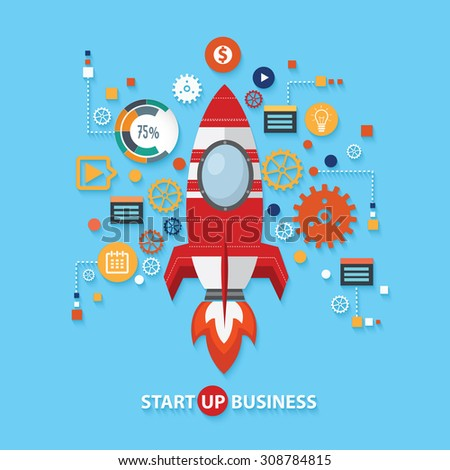 Start up business concept design on blue background,clean vector - stock vector